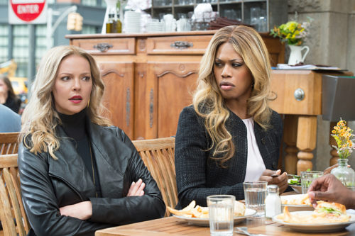 "Laverne Cox, right, stars alongside Katherine Heigl in ""Doubt"" on CBS"
