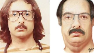John Kelly Gentry, Jr. in a 1982 booking photo beside a computer generated image of what he could look like today.