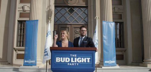 Amy Schumer and Seth Rogen in Bud Light's pro-transgender commercial.