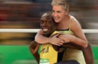 Photoshopped picture tweeted by Ellen DeGeneres. She is riding Olympian Usain Bolt's back.