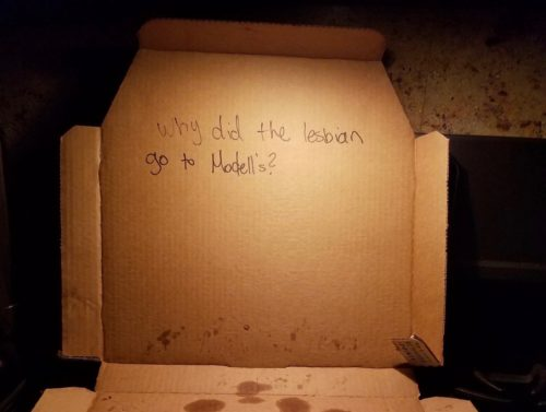 The joke found inside Jennifer and Jeanine Nyx's pizza box.