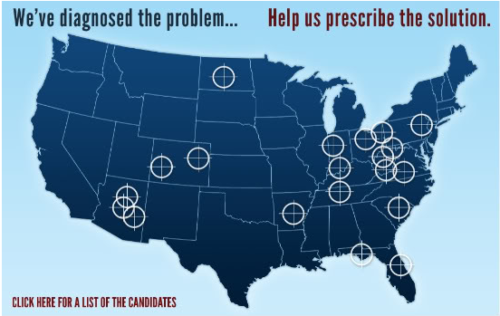 Graphic from Sarah Palin's crosshair hit list of political candidates.