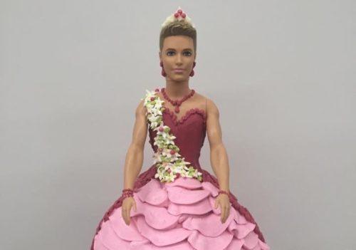 Close up of Marlene Goetzeler's Ken doll cake