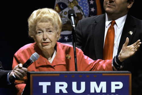 FILE In this March 11, 2016 file photo, longtime conservative activist Phyllis Schlafly endorses Republican presidential candidate Donald Trump before Trump begins speaking at a campaign rally in St. Louis. Schlafly, who helped defeat the Equal Rights Amendment in the 1970s and founded the Eagle Forum political group, has died at age 92. The Eagle Forum announced her death in a statement Monday, Sept. 5, 2016.