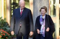 Norway's King Harald V and Queen Sonja arrive at the State Guest House, Helsinki, Finland, on Monday Sept. 5, 2016, during a state visit to Finland.