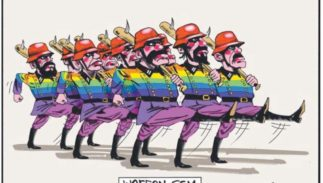 A political cartoon published in The Australian.