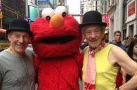 Sir Patrick Stewart and Sir Ian McKellen in Times Square with Elmo