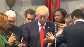 Donald Trump gets blessed by Christian evangelicals.