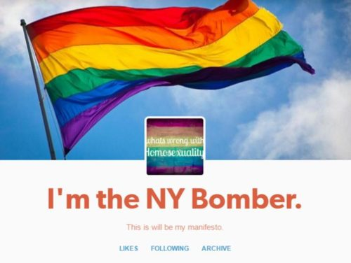 This screenshot is of a Tumblr account that reportedly claimed responsibility for an explosion in New York City that injured 29 people. Authorities are investigating the account's authenticity.