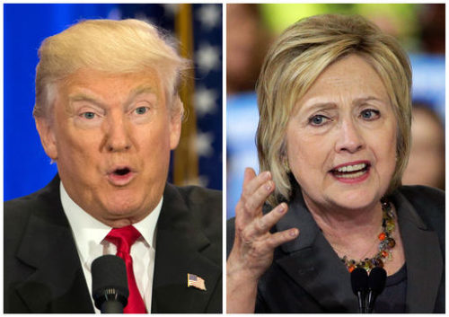 File-This file photo combo of file images shows U.S. presidential candidates Donald Trump, left, and Hillary Clinton.