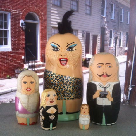 """Russian nesting dolls featuring characters from the John Waters movie, """"Female Troubles"""""""