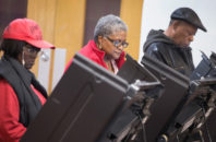 African-American voters go to the polls in Ferguson, Missouri in 2015.