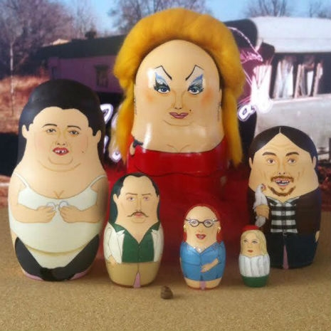 """Russian nesting dolls featuring characters from the John Waters movie, """"Pink Flamingos"""""""