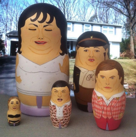 """Russian nesting dolls featuring characters from the John Waters movie, """"Polyester"""""""
