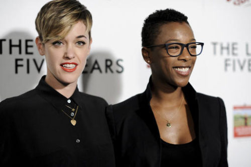 "FILE - In this Feb. 11, 2015, file photo, Lauren Morelli, left, and Samira Wiley arrive at the LA Premiere of  ""The Last Five Years"" in Los Angeles. Morelli and Wiley announced their engagement on social media on Oct. 4, 2016."