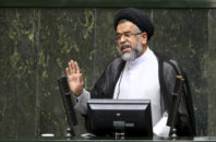 "Iranian Intelligence Minister Mahmoud Alavi answers questions from lawmakers in an open session of parliament in Tehran, Iran, Tuesday, Oct. 25, 2016. Iran's intelligence minister is defending his agents' handling of a visit by a gay Utah state senator after hard-liners alleged it represented a security breach. Alavi said Sen. Jim Dabakis was under ""full surveillance"" during his six-day visit in September. Alavi also questioned why hard-liners didn't have a problem with Dabakis making a 15-day visit in 2010 during the administration of hard-line President Mahmoud Ahmadinejad."