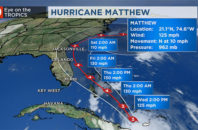 Projected map of Hurricane Matthew