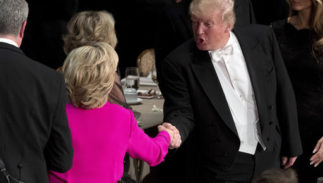 Republican presidential candidate Donald Trump, right, shakes hands with Democratic presidential candidate Hillary Clinton, left, at the conclusion of the 71st annual Alfred E. Smith Memorial Foundation Dinner, a charity gala organized by the Archdiocese of New York, Thursday, Oct. 20, 2016, at the Waldorf Astoria hotel in New York. (AP Photo/Andrew Harnik)