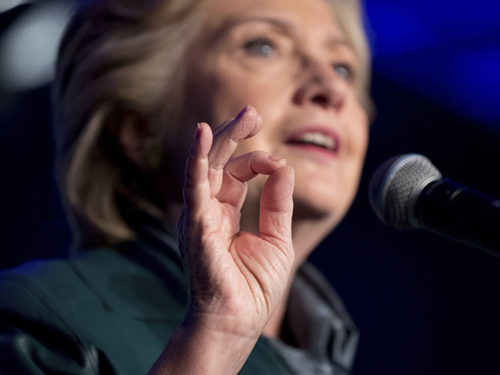 It's not clear exactly what Hillary Clinton is doing with her fingers but it could be she's sizing up Donald Trump's chances.