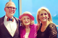 Edie Windsor and now-wife Judith Kasen (right) celebrate Jim Obergefell's 50th birthday.