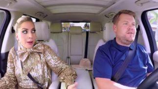 Lady Gaga and James Corden performing carpool karaoke