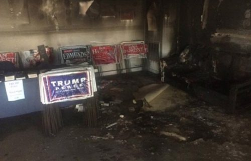 The aftermath from a firebomb tossed into a local North Carolina GOP office.
