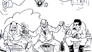 Nazi propaganda cartoon showing Jews controlling the leaders of Britain, the United States, and Russia.