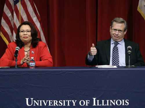 Republican U.S. Sen. Mark Kirk, right, and Democratic U.S. Rep. Tammy Duckworth, left, face off in their first televised debate on Oct. 27, 2016