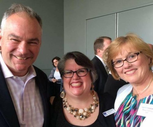 Tim Kaine, Carol Schall, and Mary Townley in a photo posted to Schall's Facebook page in July.