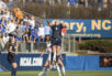 FILE - In this Dec. 6, 2015, file photo, Penn State's Frannie Crouse (9) jumps for a header as teammate Emily Ogle, left, watches during the NCAA Women's College Cup soccer final against Duke in Cary, N.C. The NCAA relocated its men's basketball regional tournament to Greenville, South Carolina, on Friday, Oct. 7, 2016, after withdrawing the event from Greensboro, North Carolina, because of that state's law restricting the rights of LGBT people. The NCAA also announced the relocation of six other events from North Carolina, including the Division 1 women's soccer championship.