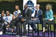"Charlotte Hornets owner Michael Jordan, center, with NBA Commissioner Adam Silver, second from right, and Charlotte Mayor Jennifer Roberts, right, attend the dedication of the basketball courts by the Hornets and NBA at Latta Park in the Dilworth neighborhood of Charlotte, N.C., Tuesday, Oct. 18, 2016. Silver said Tuesday that returning the All-Star Game to Charlotte in 2019 is ""a high priority,"" provided there's a resolution to a North Carolina law that restricts the rights of LGBT people."