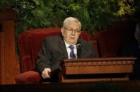 FILE - In this April 6, 2014, file photo, Mormon leader Boyd K. Packer, president of the Quorum of Twelve Apostles, of The Church of Jesus Christ of Latter-day Saints, addresses the 184th Annual General Conference of The Church of Jesus Christ of Latter-day Saints, in Salt Lake City. In 15 videos posted online Sunday, Oct. 2, 2016, during the final day of the religion's twice-yearly conference, Mormon leaders discussed concerns about the growth of the gay rights movement and heard from a former U.S. senator and church member who tells them the Iraq war could open the door for new converts, according to the  footage that pulls back the curtain on a religion that is closely guarded about its inner workings.
