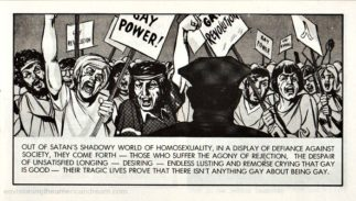 Sample image from a Jack Chick antigay tract