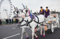 """Unicorn"" drawn carriages in London to promote the ZTE Blade V7 phone."
