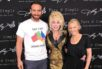 "Kylie Minogue and Joshua Sasse with Dolly Parton, launching the ""Say I Do Down Under"" campaign."