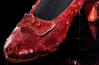 Close up of one of Dorothy's ruby slippers