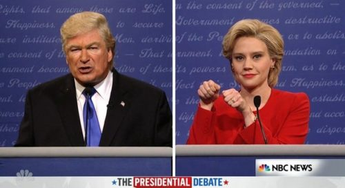 Alec Baldwin and Kate McKinnon face off as Donald Trump and Hillary Clinton in SNL's take on the first debate.