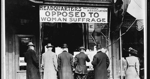 Picture of the entrance of the National Association Opposed To Woman Suffrage's headquarters.