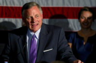 Sen. Richard Burr, R-N.C., talks to supporters as he gives his acceptance speech after winning re-election in Winston-Salem, N.C., Tuesday, Nov. 8, 2016