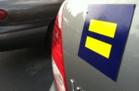 Human Rights Campaign sticker on a car.