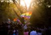 Indian members and supporters of the lesbian, gay, bisexual, transgender (LGBT) community take part in a pride parade in New Delhi on November 27, 2016 Hundreds of members of the LGBT community marched through the Indian capital for the ninth annual Delhi Queer Pride Parade.