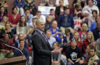 FILE - This Oct. 21, 2016, file photo, Independent presidential candidate Evan McMullin speaks during a rally, in Draper, Utah. Two months after he jumped into the presidential race as a political unknown, McMullin is surging in Utah polls and drawing large crowds of Republican-leaning voters fed up with Donald Trump's crudeness and antics.