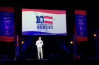 Jon Stewart on stage at the Woodruff Foundation's 10th annual Stand Up for Heroes Benefit