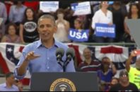 President Obama speaking at a Clinton rally in Kissimmee, Florida on Nov. 6, 2016.