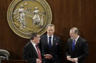 House Speaker Tim Moore (R), Lt. Gov Dan Forest (R), and Senate President Pro Tempore Phil Berger (R).