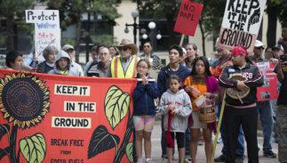 Protestors demonstrate against the Dakota Access Pipeline in St. Paul, Minnesota, on September 13, 2016.