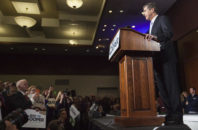 North Carolina Gov.-elect Roy Cooper speaks to a crowd of supporters a day after his opponent, incumbent Gov. Pat McCrory, conceded the election in Raleigh, N.C., Tuesday, Dec. 6, 2016.