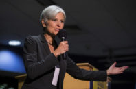 FILE - In this Sept. 21, 2016 file photo. Green Party presidential candidate Jill Stein delivers remarks at Wilkes University in Wilkes-Barre, Pa. Green Party-backed voters dropped a court case Saturday night, Dec. 3, 2016, that had sought to force a statewide recount of Pennsylvania's Nov. 8 presidential election, won by Republican Donald Trump, in what Green Party presidential candidate Stein had framed as an effort to explore whether voting machines and systems had been hacked and the election result manipulated.