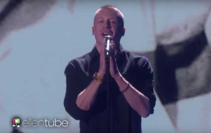 "Macklemore performed ""Wednesday Morning"" on ""The Ellen Show."""