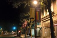 Pride banners in Columbus, Indiana shortly after sunset in 2015.